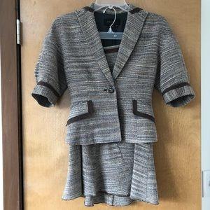 Brown herringbone skirt suit BCBG